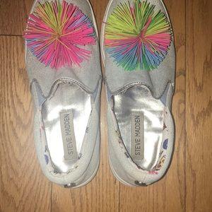 Steve Madden Shoes - Steve Madden  Slip on pom-pom denim sneaker